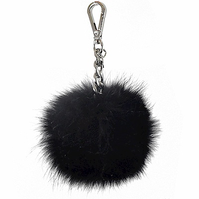 MICHAEL KORS KEY CHARMS 毛球吊飾鑰匙圈(黑)