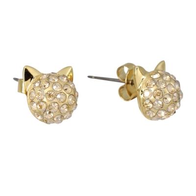 Karl Lagerfeld  CHOUPETTE 貓咪水晶造型金色耳環