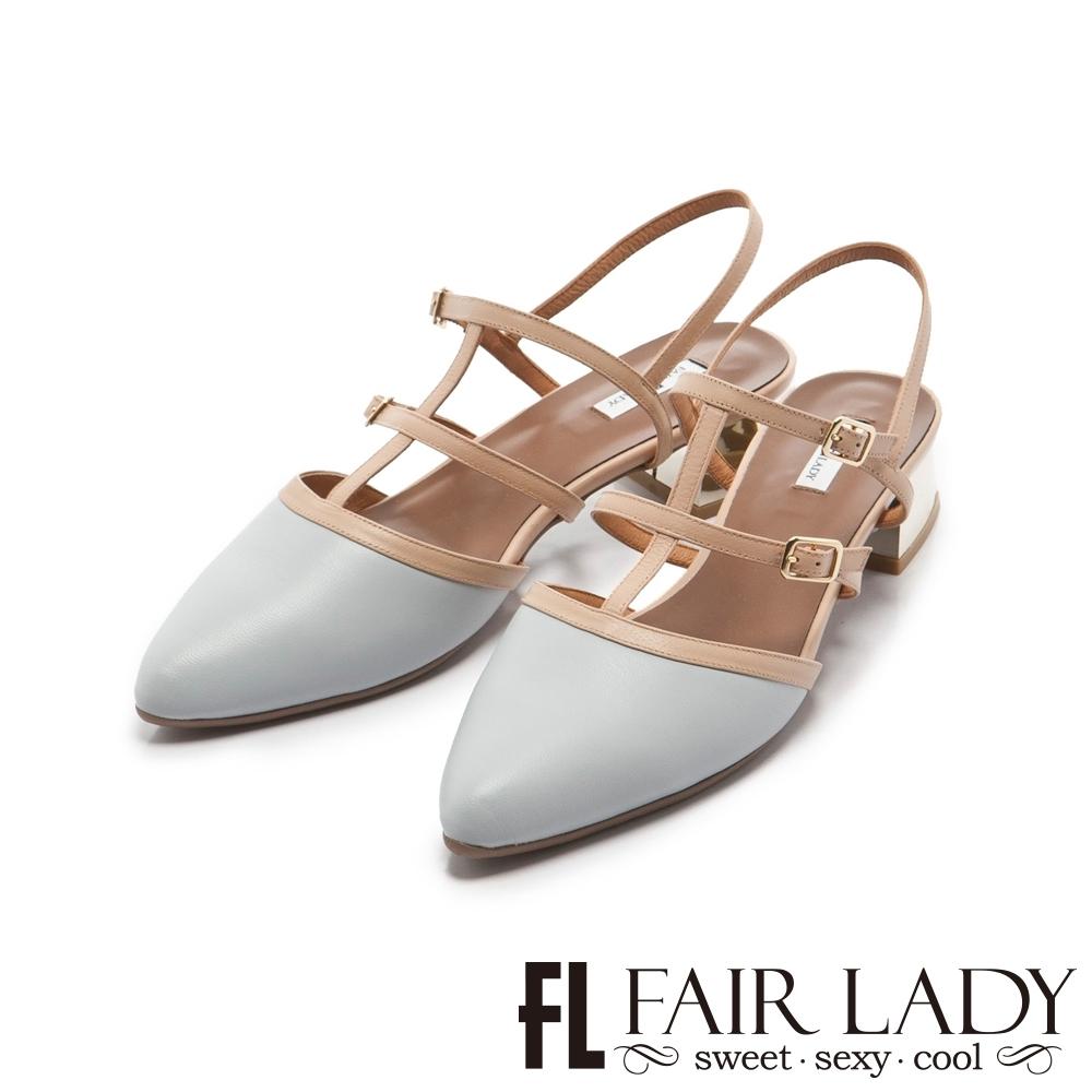 FAIR LADY 優雅小姐Miss Elegant 魚骨造型繫帶尖頭低跟鞋 藍