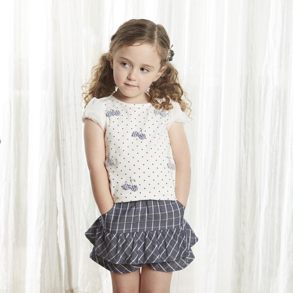 PIPPY 俏皮格子褲裙 深藍