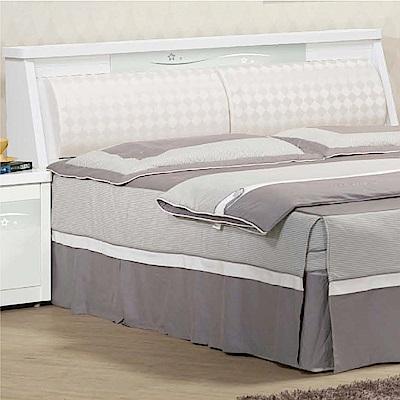 綠活居 麥卡現代白5尺皮革雙人床頭箱(不含床底)-150x30x93cm免組