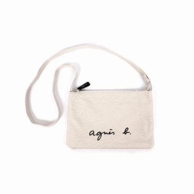 agnes b.-Voyage 帆布 logo 拉鍊斜背包(白)