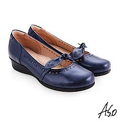 A.S.O 職場通勤 圓楦低底台紓壓氣墊鞋 藍