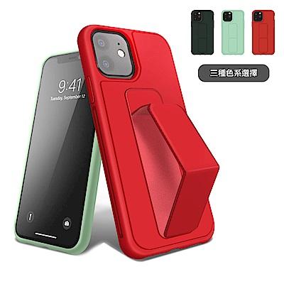 iPhone 12 強力磁吸 純色 立架 支架 手機殼 保護套-紅色*1