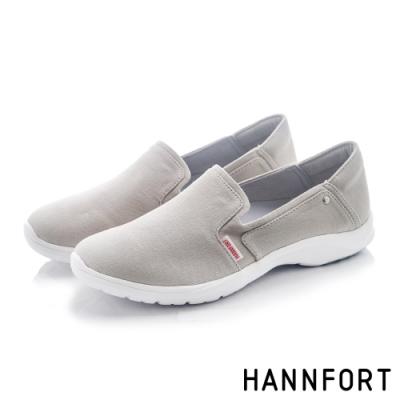 HANNFORT EASY WALK簡約帆布氣墊健走鞋-女-灰