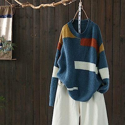 時尚拼色寬鬆慵懶毛衣針織線衫-設計所在