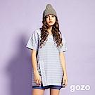 gozo 制服領立體條紋造型上衣(灰藍)