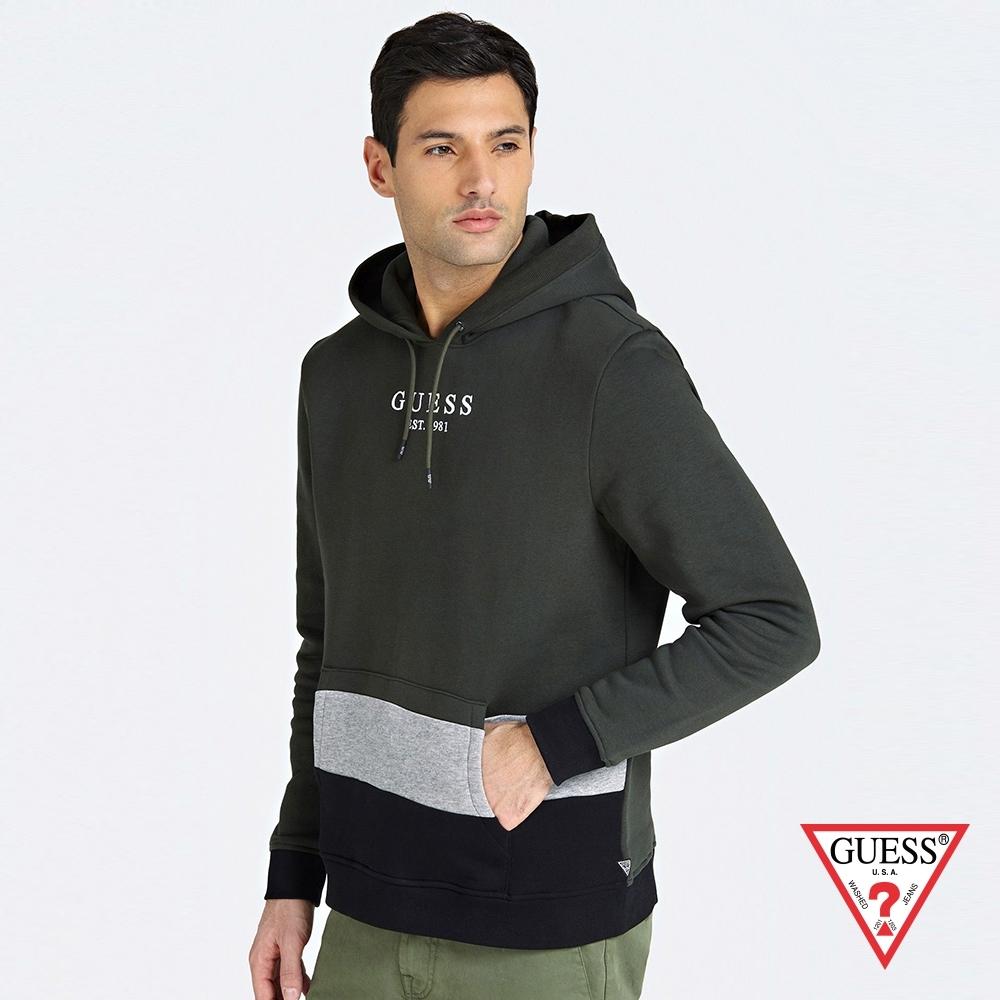GUESS-男裝-拼色字母LOGO長袖帽T-綠 原價2490