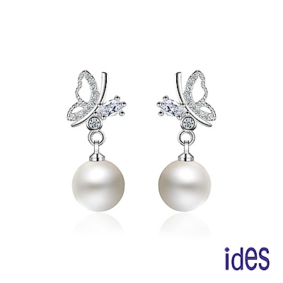 ides愛蒂思 歐美設計淡水貝珠耳環10mm/珍愛蝴蝶