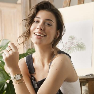 CLUSE La Tetragone 方框腕錶(金框/白錶面/鱷魚紋皮革錶帶)28.5mm