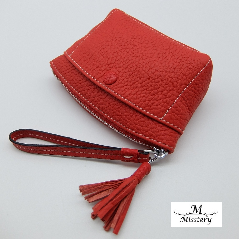 【Misstery】零錢包進口牛皮小巧零錢包-橘紅(進口牛皮款式)
