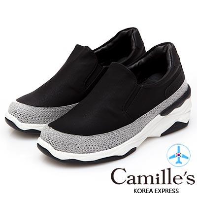 Camille's 韓國空運-正韓製-素面拼接針織運動懶人鞋-黑色