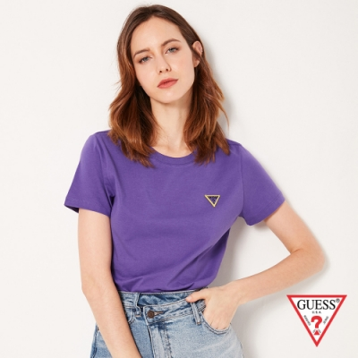GUESS-女裝-刺繡小LOGO短T-紫