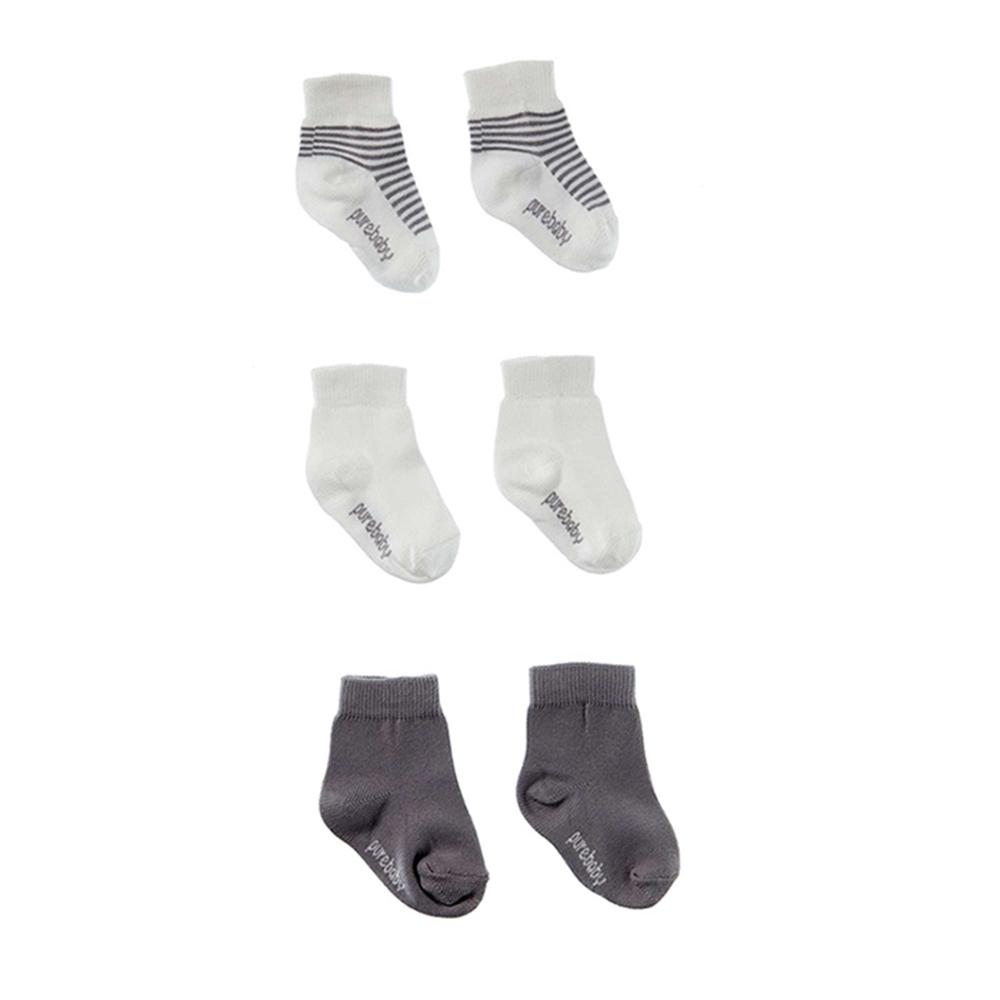 澳洲Purebaby有機棉新生兒棉襪三件組-3~12月嬰兒襪