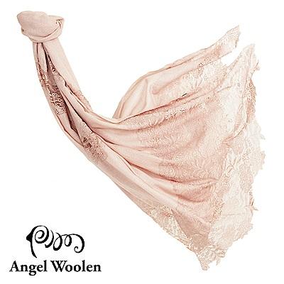Angel Woolen眷戀飛舞蕾絲印度手工蕾絲披肩-裸色