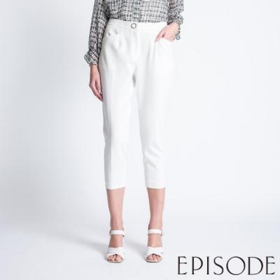 EPISODE - 百搭打摺設計七分西裝褲(白)
