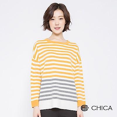 CHICA 活力校園撞色條紋落肩針織衫(2色)