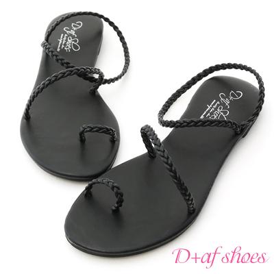 D+AF 獨特美感.簡約麻辮編織套指涼鞋*黑