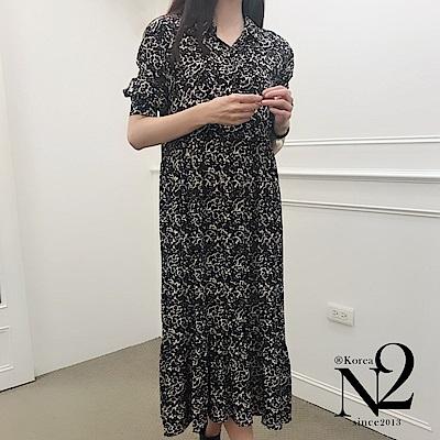 洋裝 正韓流行豹紋前短後長寬版傘狀長袖洋裝 N2