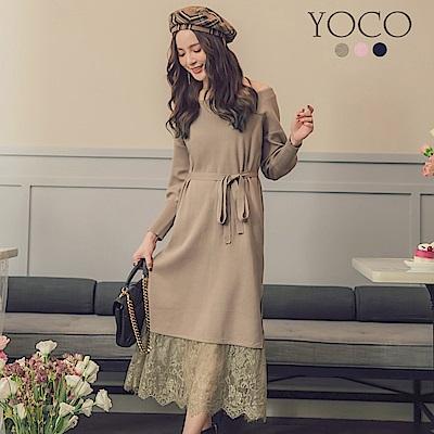東京著衣-yoco 完美小姐蕾絲拼接裙擺綁帶針織洋裝-S.M.L(共三色)