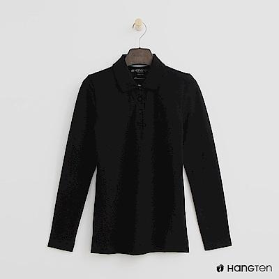 Hang Ten - 女裝 - 素面長袖POLO衫 - 黑