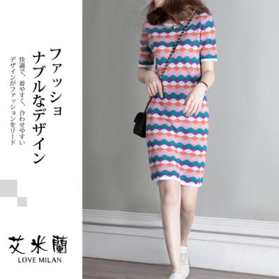 艾米蘭-韓版圓領幾何印花造型洋裝-幾何印花(M-L)