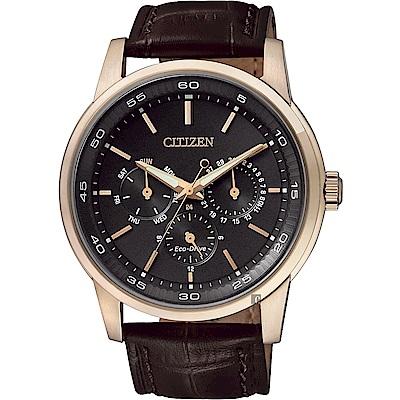 CITIZEN 星辰 光動能日曆手錶(BU2013-08E)-玫瑰金框x咖啡/44mm