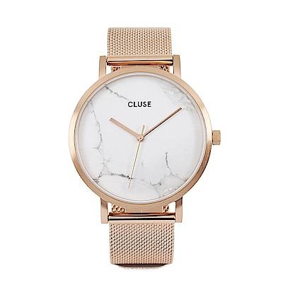 CLUSE荷蘭精品手錶 大理石系列 白錶盤/玫瑰金色米蘭錶帶 38 mm