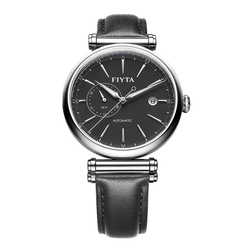 FIYTA飛亞達 IN系列沉穩黑面皮帶款機械錶GA850002.WBB-41.5mm