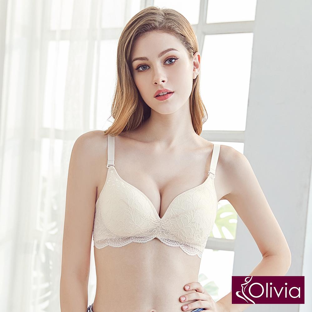 Olivia 無鋼圈極美奢華蕾絲蠶絲內衣-淡黃色