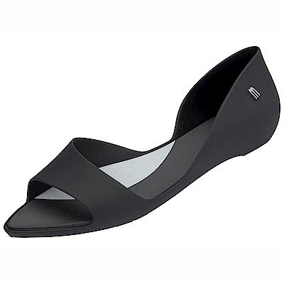 MELISSA  極簡魚口平底鞋-黑