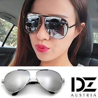 DZ 明星單槓設計款 抗UV太陽眼鏡 墨鏡(銀框水銀膜)