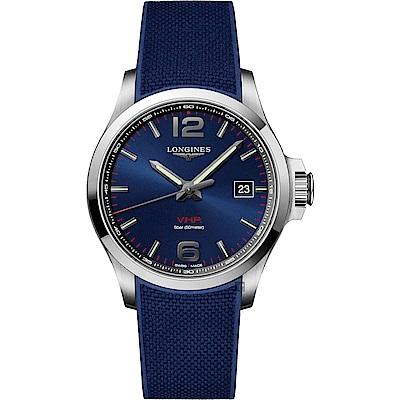 LONGINES浪琴 征服者系列V.H.P.萬年曆手錶-藍/43mm