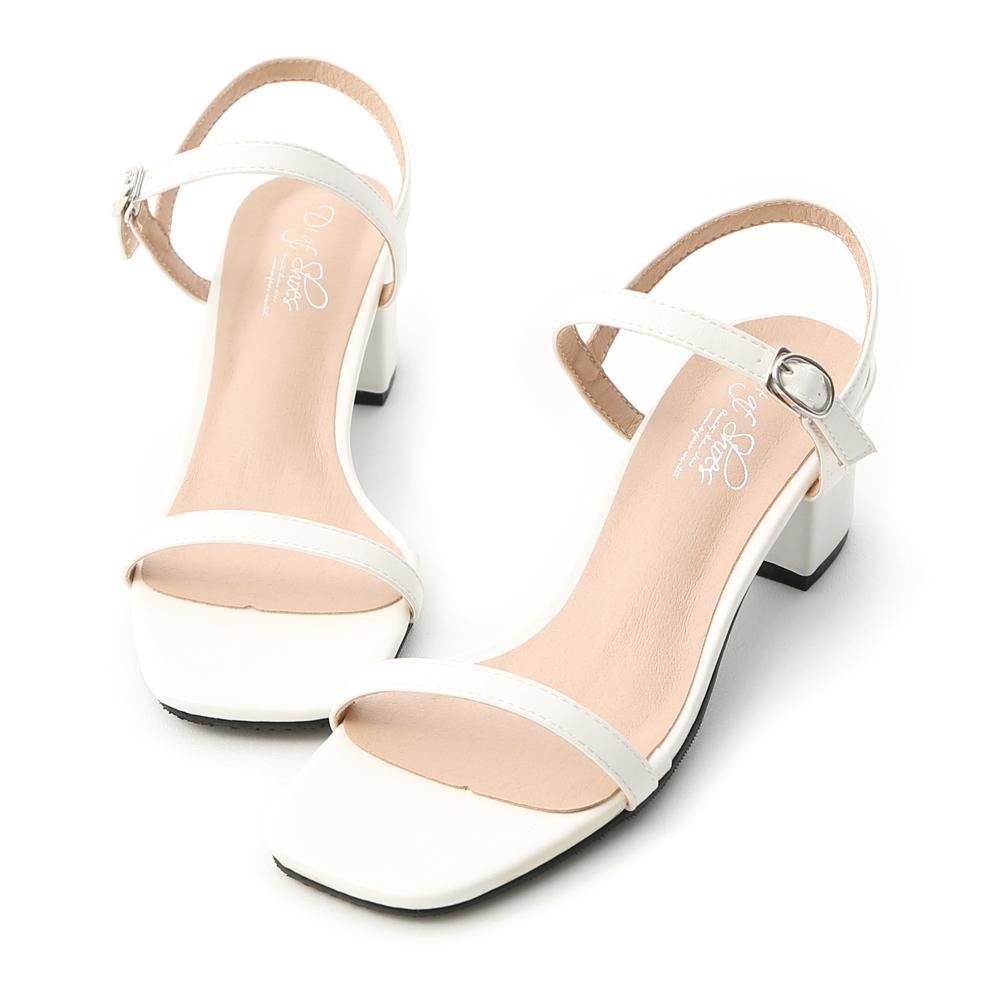 D+AF 夏日美型.一字細帶方頭中跟涼鞋*白
