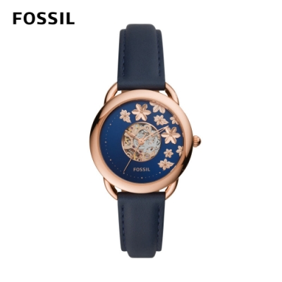 FOSSIL Tailor 優雅花卉透視機械錶 藍色皮革錶帶 35mm ME3186