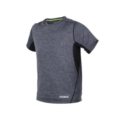 FIRESTAR 男短袖吸排圓領衫-T恤 慢跑 路跑 麻花灰