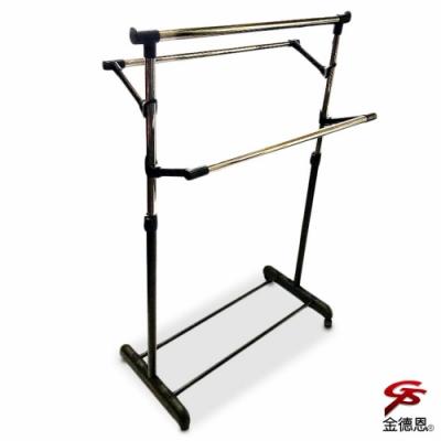 金德恩 台灣製造 三桿升降鐵管曬衣架附滾輪