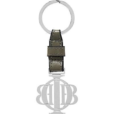 OBBI LAI 白鋼色不鏽鋼Logo軍綠色小羊皮鑰匙圈