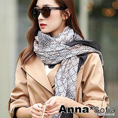 AnnaSofia 方格樊藤 拷克邊韓國棉圍巾披肩(灰黑邊)