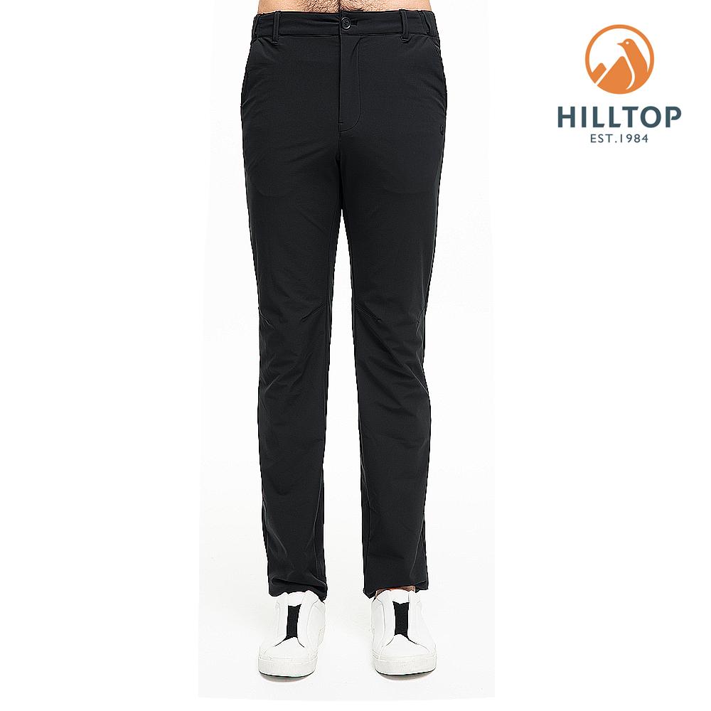【hilltop山頂鳥】男款超潑水抗UV彈性長褲S07MC0無月黑