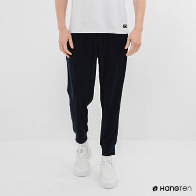 Hang Ten-男裝-恆溫多功能-REGULAR FIT標準鳥眼吸排紗涼感抗菌除臭運動長褲-藍色