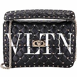 VALENTINO Rockstud Spike VLTN 中型絎縫羊皮兩用搖滾包(黑色)