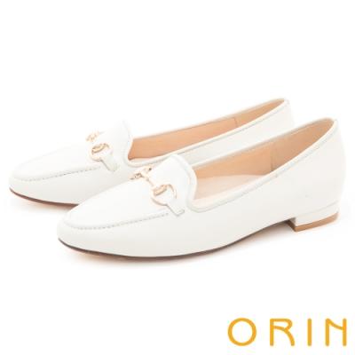 ORIN 氣質馬銜釦真皮樂福 女 平底鞋 白色