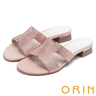 ORIN 魅力新時尚 造型剪裁布面水鑽低跟拖鞋-粉紅