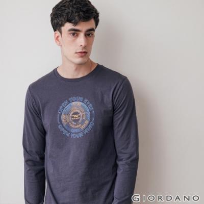 GIORDANO 男裝EXPLORE FUTURE印花長袖T恤- 21 石墨灰