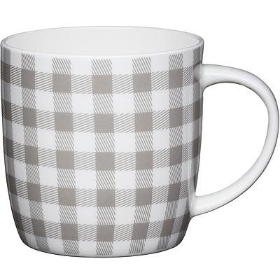 《KitchenCraft》骨瓷馬克杯(格紋灰425ml)