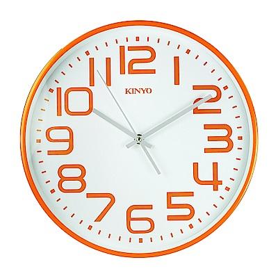 KINYO 13吋馬卡龍大數字掛鐘/時鐘(CL-146O)無滴答聲