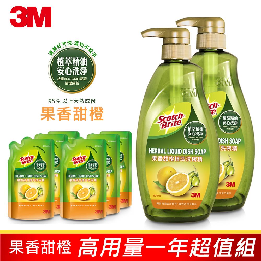 3M 植萃冷壓果香甜橙精油洗碗精高用量一年超值組 (2瓶+6補)