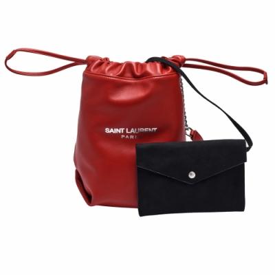 YSL 經典TEDDY系列品牌LOGO小羊皮束口手提/斜背水桶包(紅)