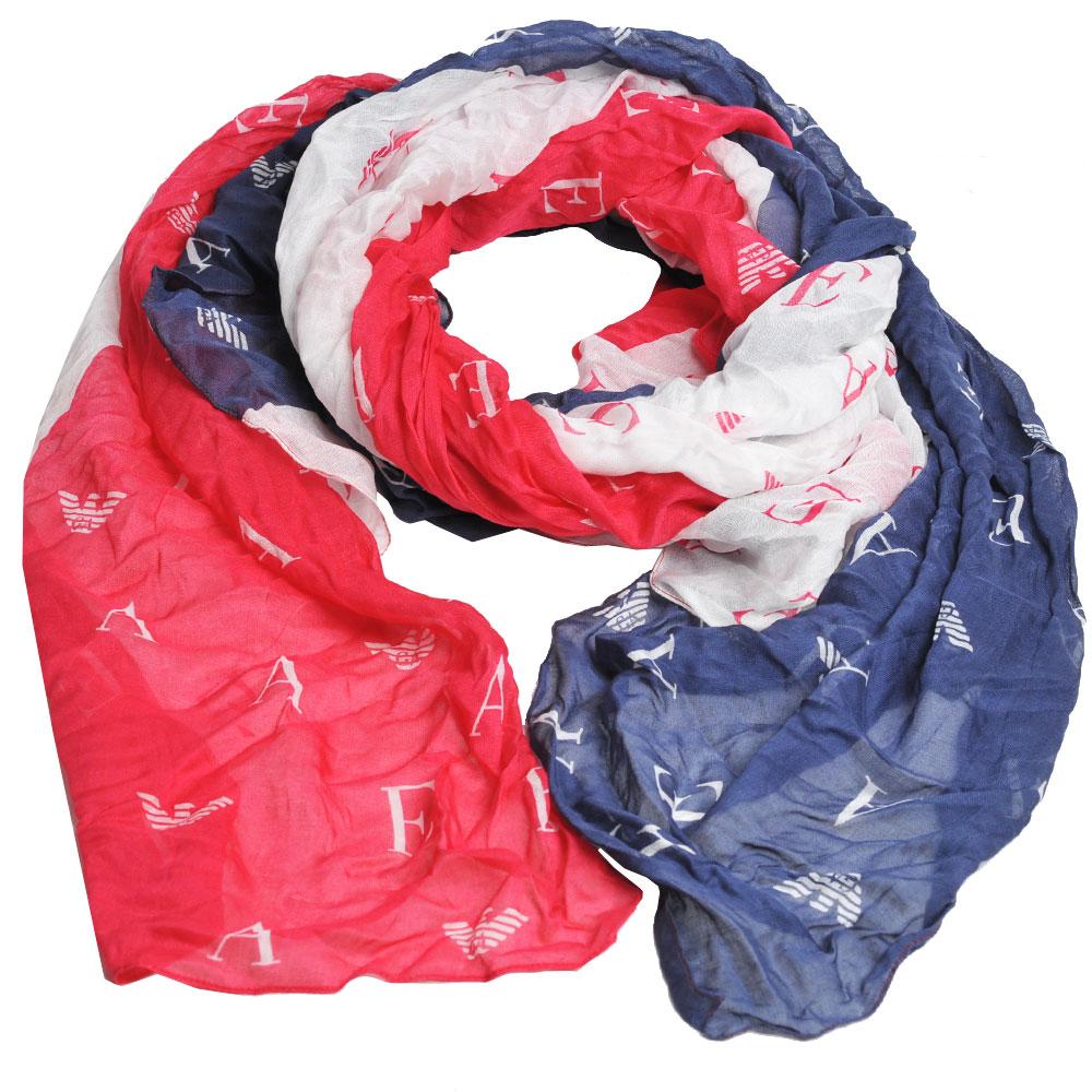EMPORIO ARMANI 義大利製繽紛字母老鷹圖騰LOGO造型圍巾(藍/紅/白)